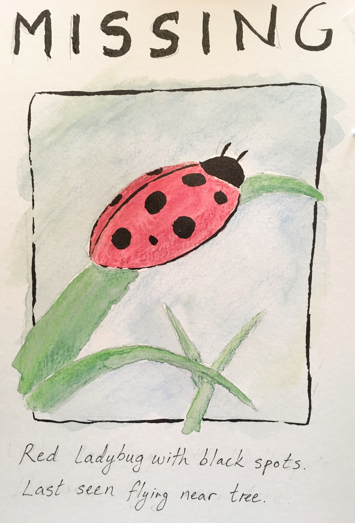 Watercolor missing ladybug sign